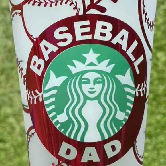 New Starbucks 24oz Reusable Cold Cups,BaseBall Dad